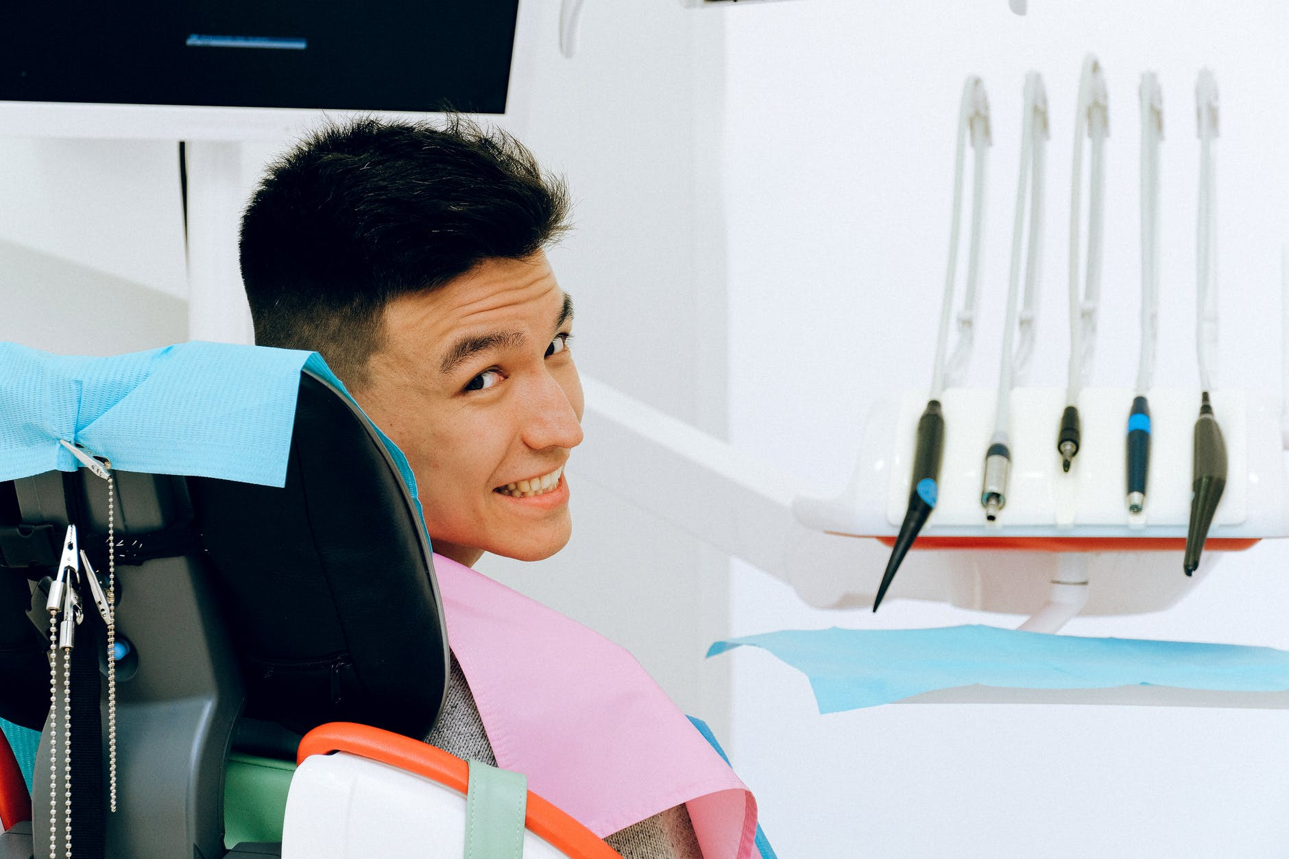 man in dentist chair