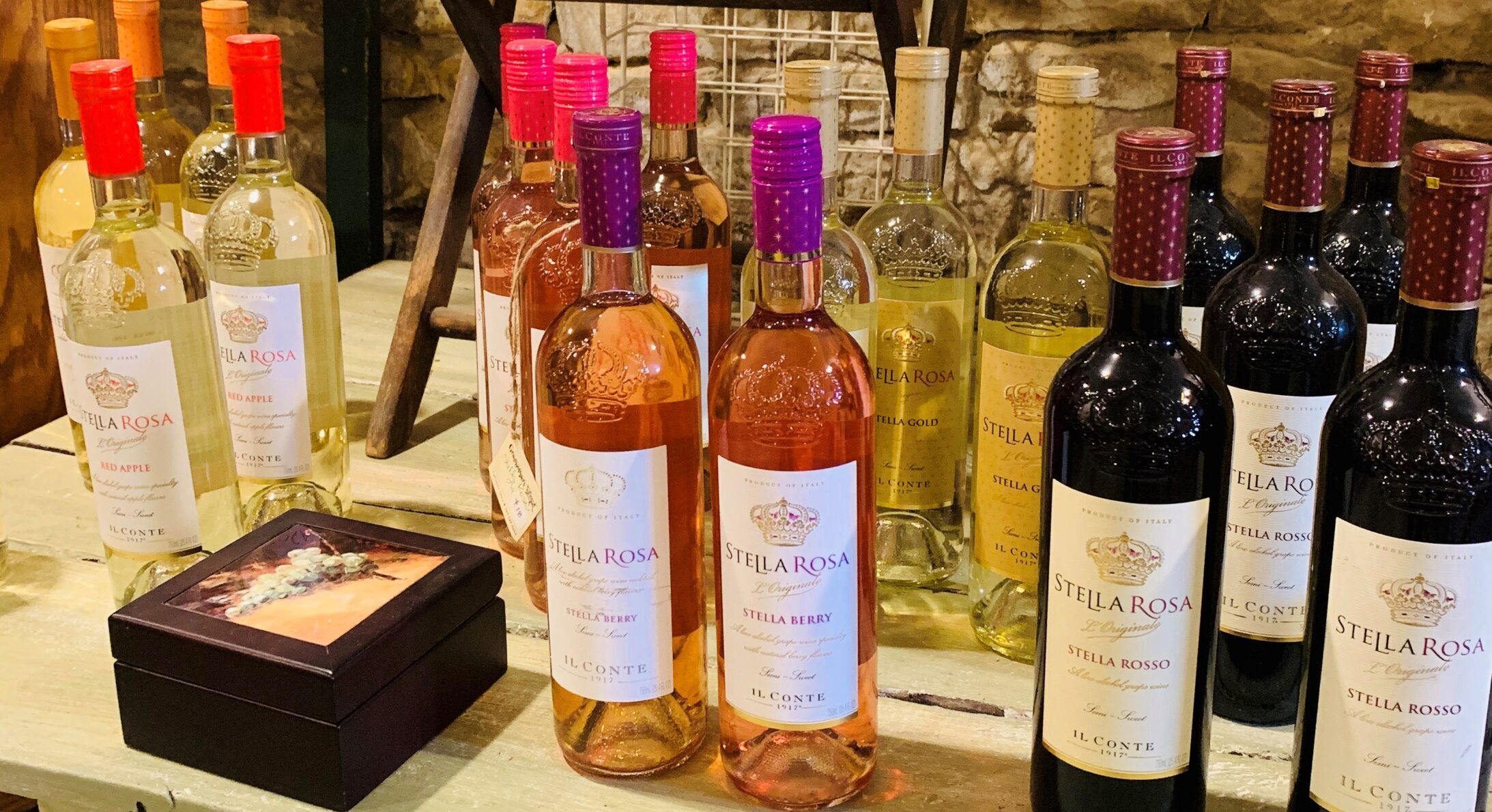 Stella Rosa wine on a table