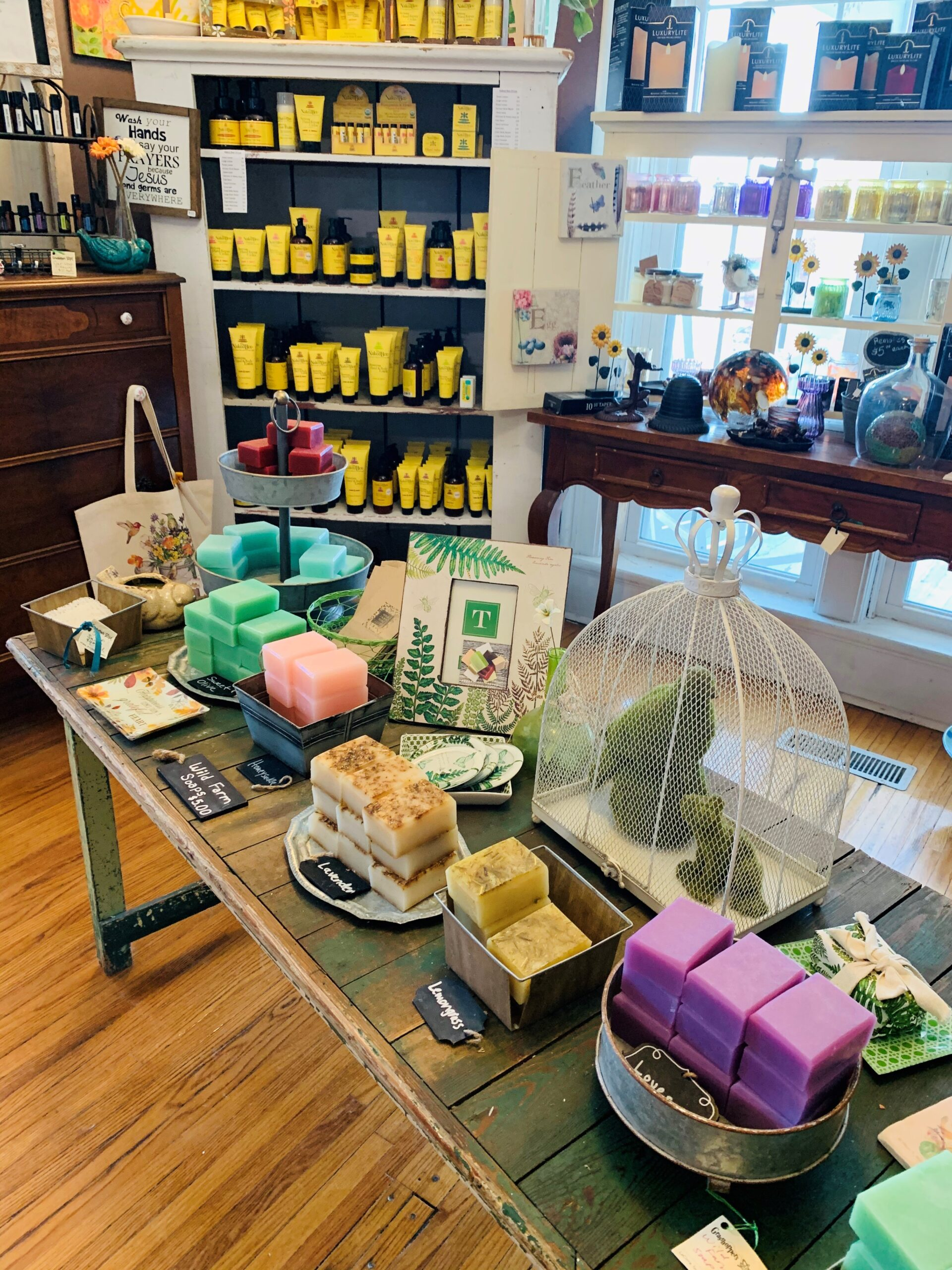 photo of gift shop table with soaps
