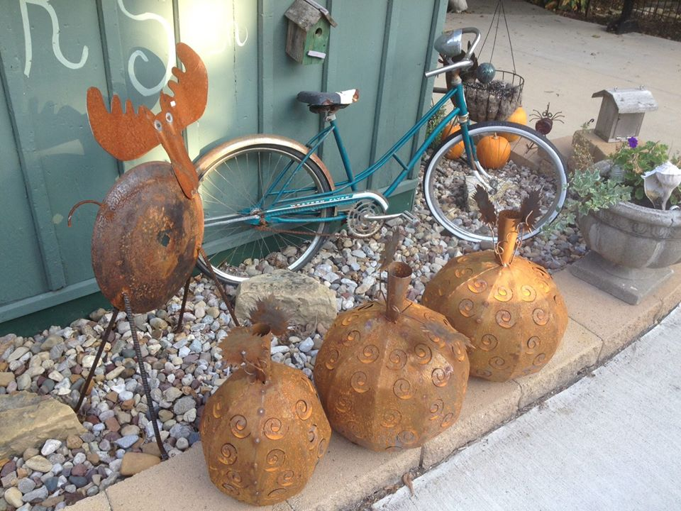 antique bike and decorative pumpkins