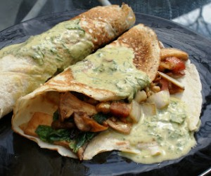 Wild Maitake crepes with Thai green curry
