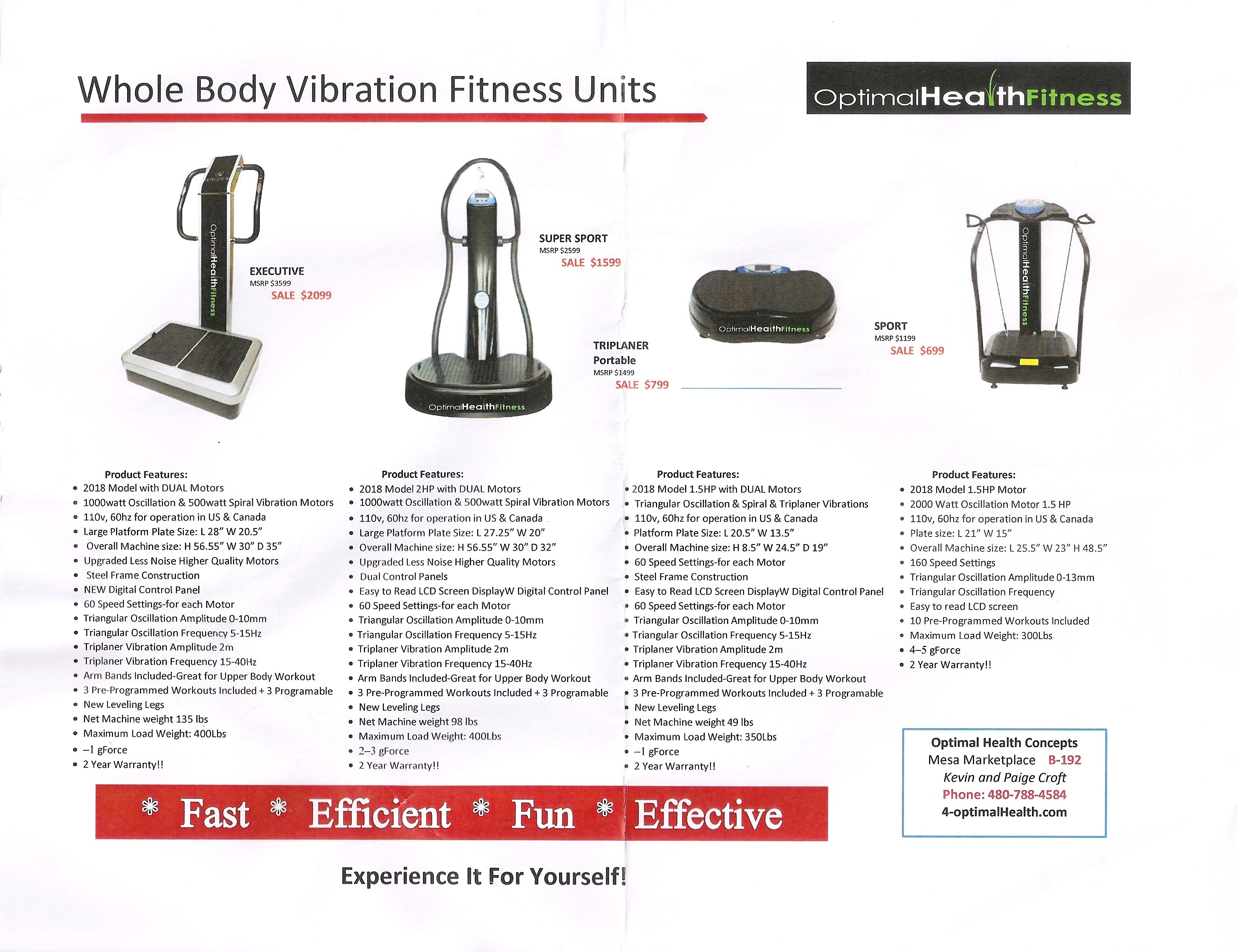 Whole Body Vibration Fitness Units