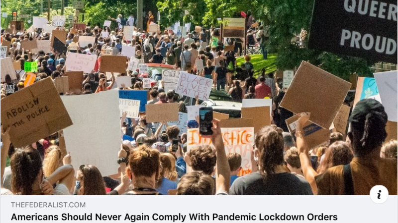 Americans should never again comply with lockdown orders!