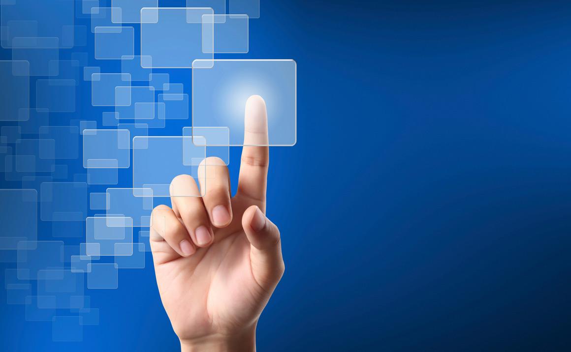 finger pressing imaginary interactive screen