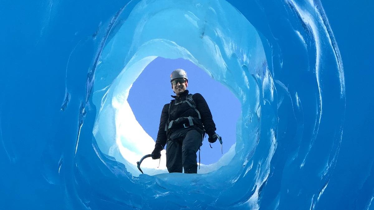 Ice Tube Exploration on Heli Hiking Tour