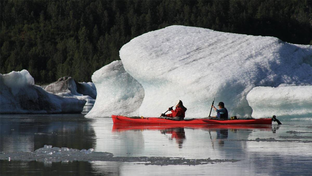 Kayakers Near Icebergs from Spencer Glacier