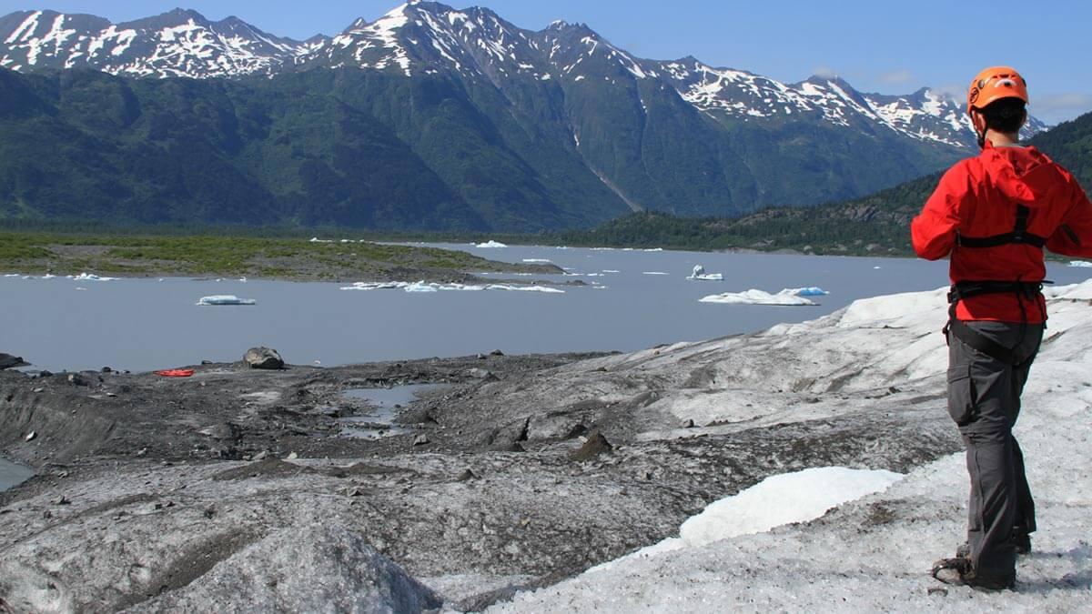 View of Spencer Glacier Lake