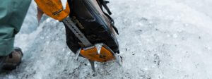 Close up of Crampons & Boot on Spencer Glacier