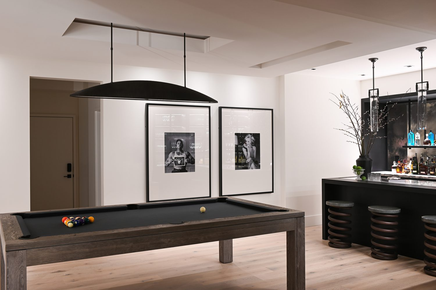 Ferme Moderne pool table and basement rec area designed by Midland Premium Properties in Vancouver, BC