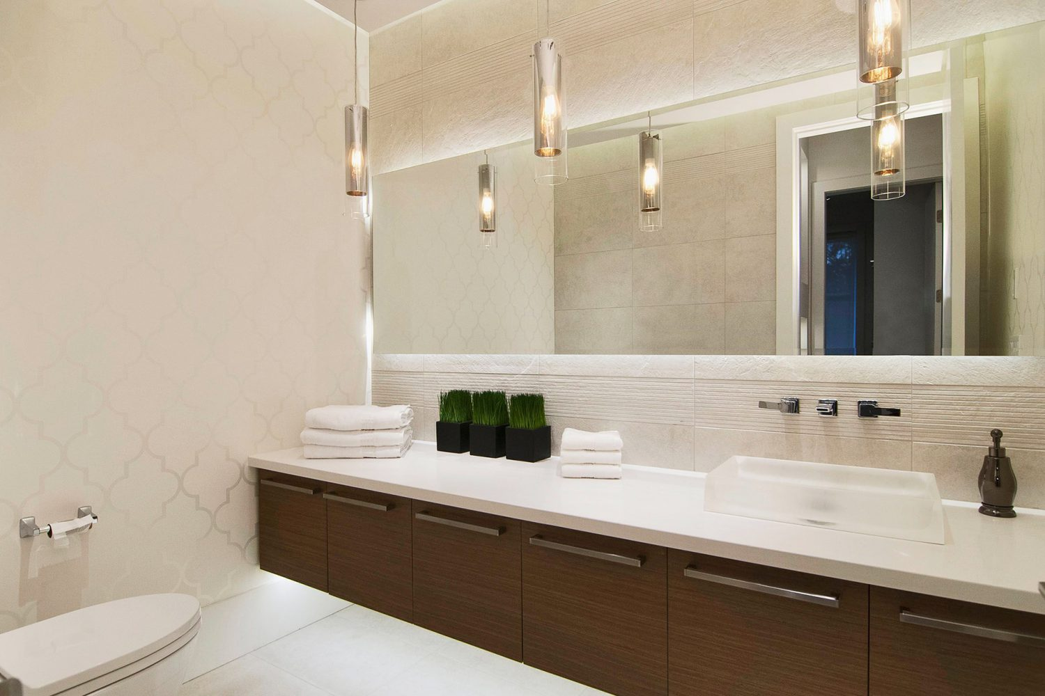 Forest interior designed bathroom with custom vanity designed by Midland Premium Properties in Vancouver, BC