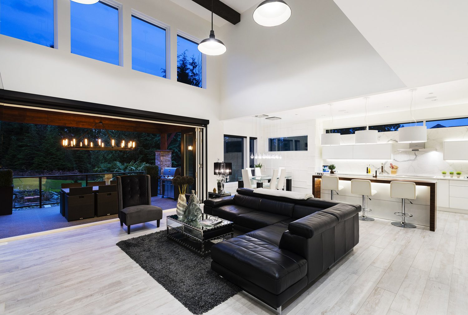 The Whisp custom designed kitchen and living room area by Midland Premium Properties in the Greater Vancouver area.