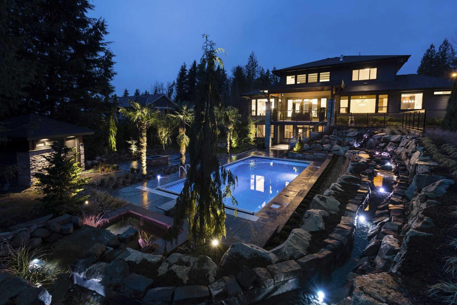 The Whisp custom designed backyard and outdoor living space by Midland Premium Properties in the Greater Vancouver area.