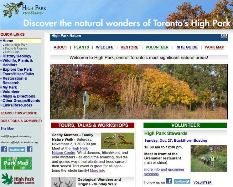 Design of the High Park Nature website 2010-2019