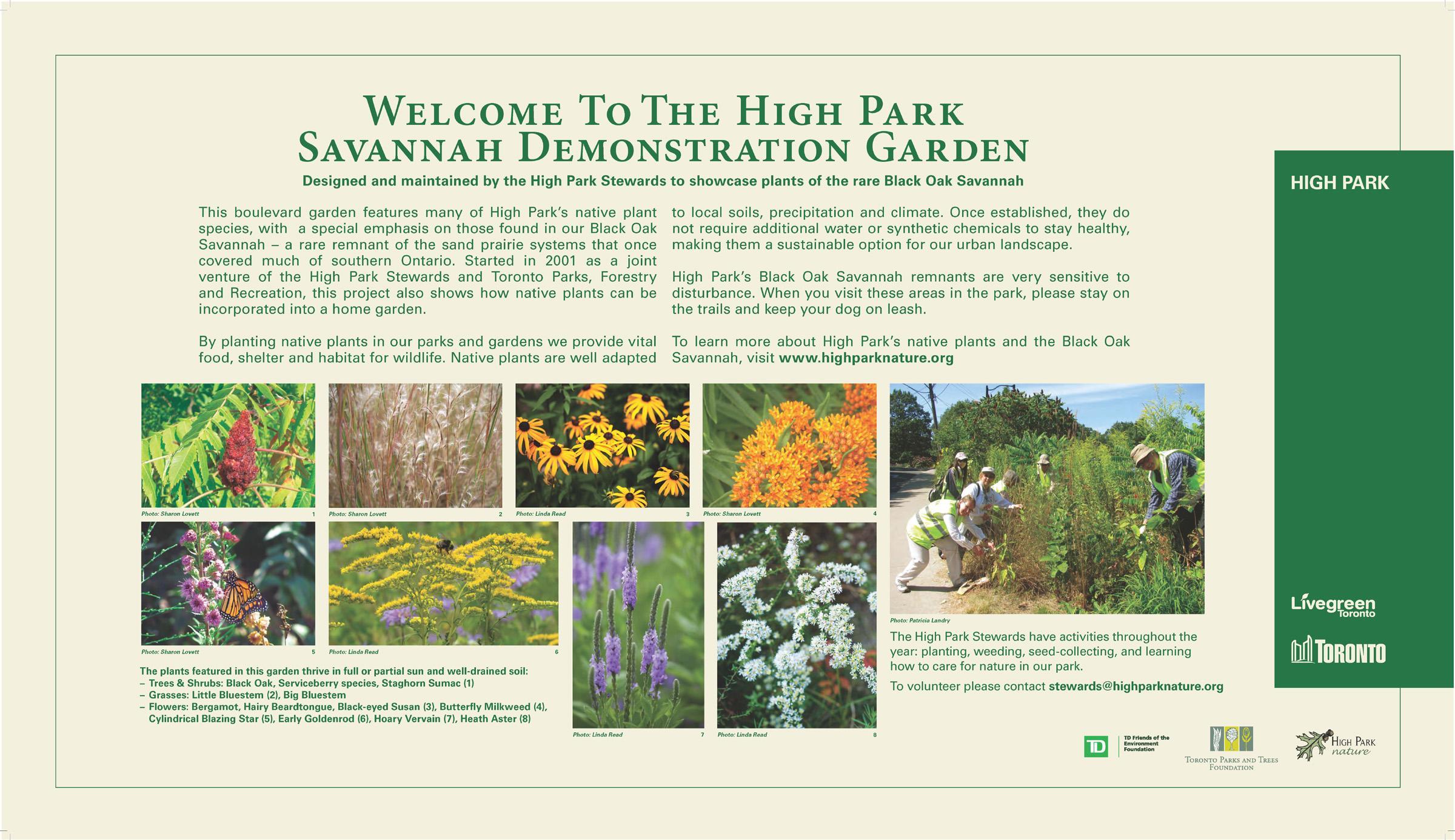 High Park Demonstration Garden sign