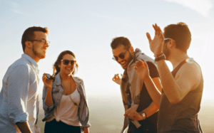 A group of friends joined by someone doing well with managing anxiety