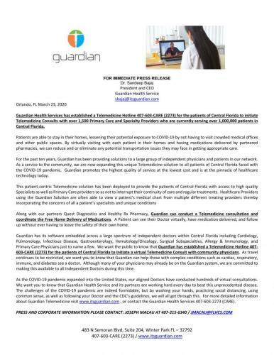 Guardian TeleMedicine Press Release