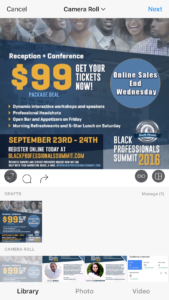Instagram Draft Page with yellow and white text that says ninety nine dollars get your tickets now and more text