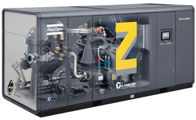 Oil-free water cooled screw compressor with Variable Speed Drive and integrated dryer