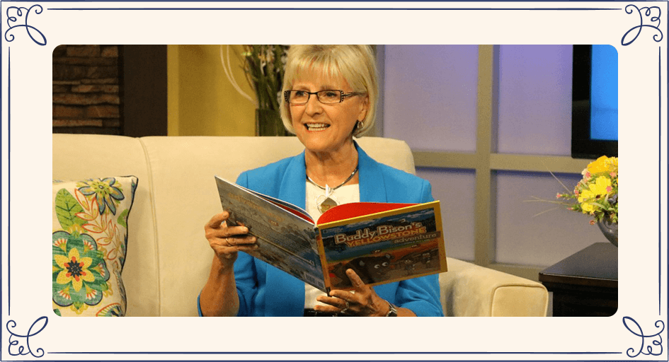 Ilona E Holland reading Buddy Bison's Yellowstone Adventure
