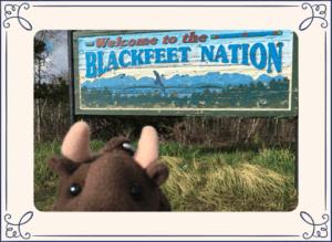 Buddy Bison plush in front of Blackfeet Nation sign