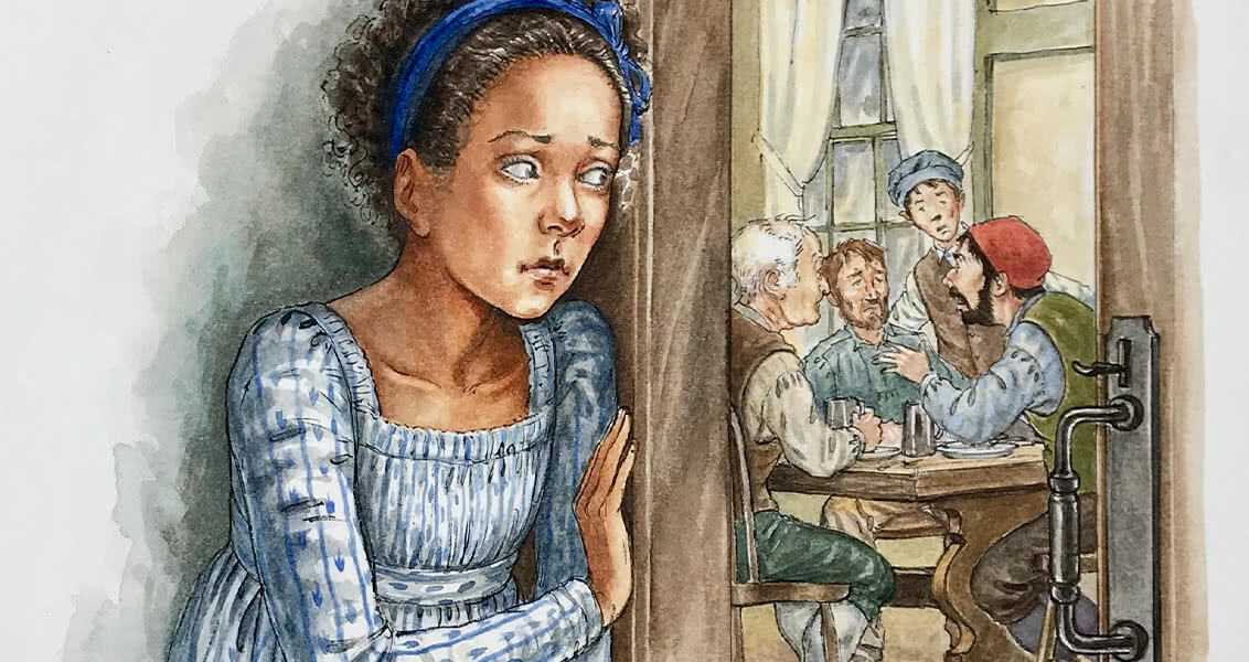 Illustration of little girl standing outside a doorway eavesdropping on a group of men talking