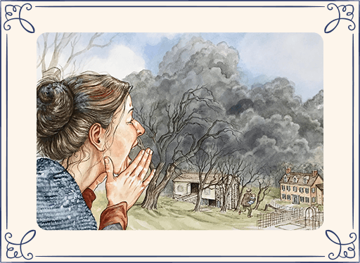 Illustrated woman yelling while smoke billows in the background