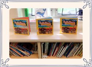 Buddy Bison books on a shelf