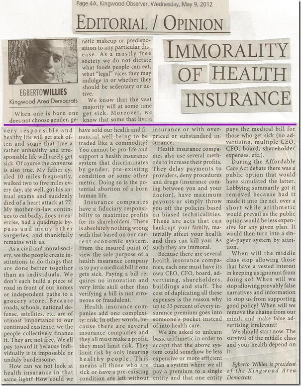 Kingwood Observer (Immorality Of Health Insurance)