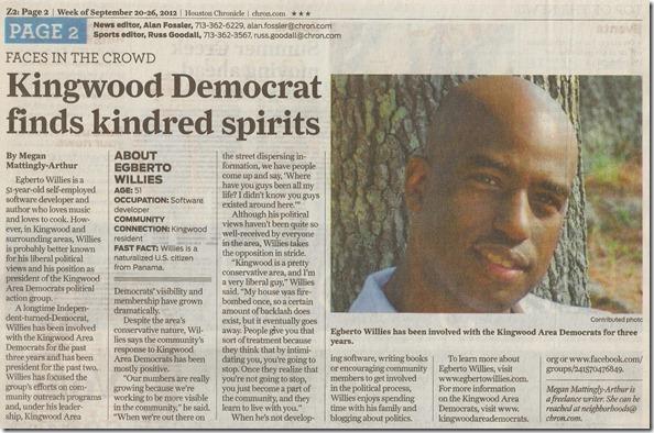 Egberto In Houston Chronicle