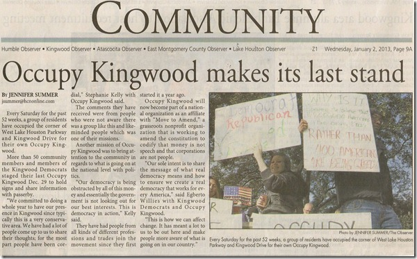 Occupy Kingwood Makes Last Stand