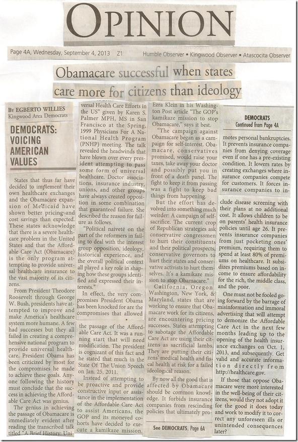 Kingwood Observer Article (Egberto) Obamacare