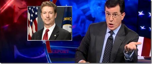 Rand Paul and Stephen Colbert