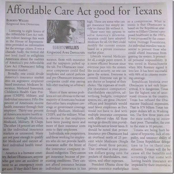 Egberto Willies Affordable Care Act Obamacare Good For Texans