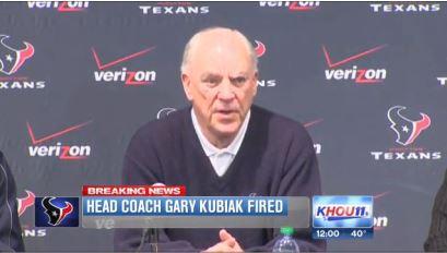 Gary Kubiak Texans Head Coach Fired