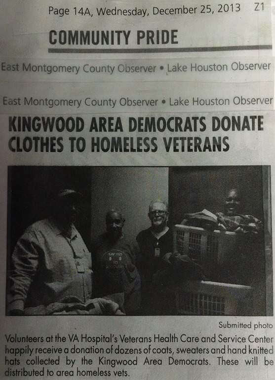 Homeless Veterans Kingwood Area Democrats