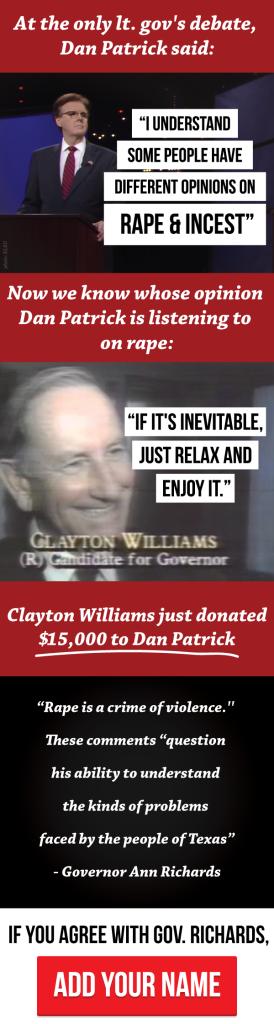 Dan Patrick Clayton Williams Rape Incest