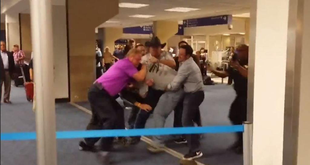 Good Samaritans tackle violent gay basher at Dallas airport