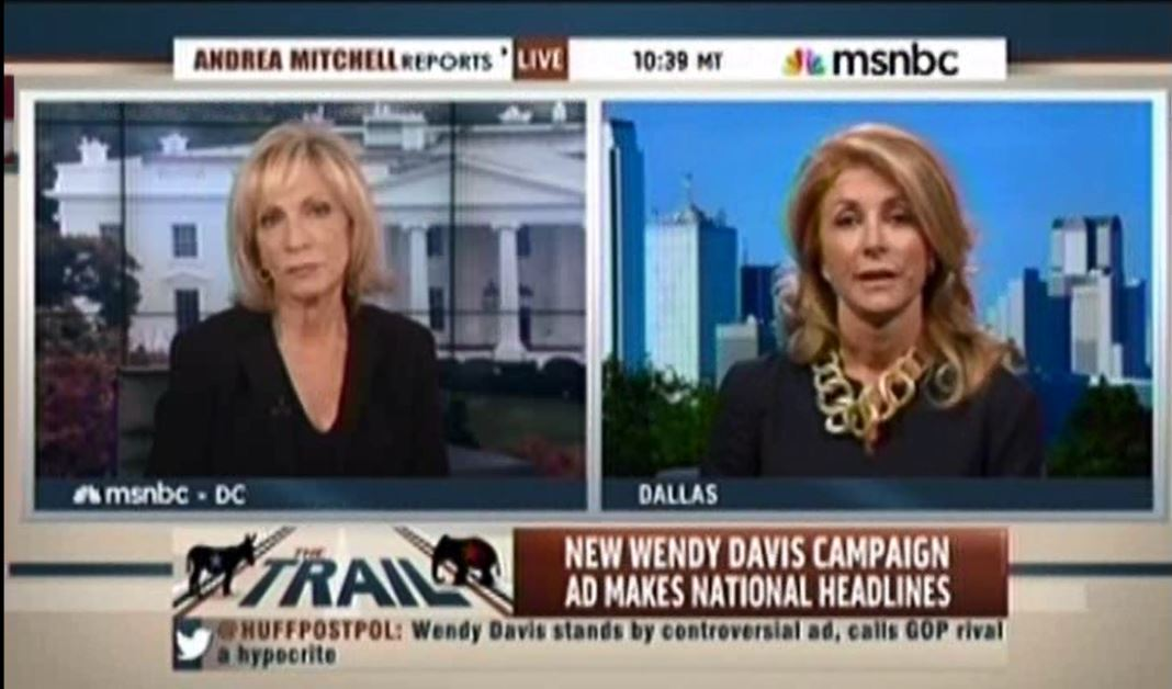 Wendy Davis on MSNBC about Greg Abbott Wheelchair ad