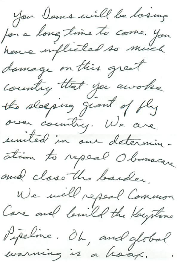Hate Letter, KAD, Democrat, Kingwood Area Democrats
