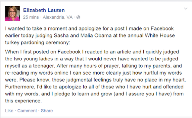 Elizabeth Lauten apology
