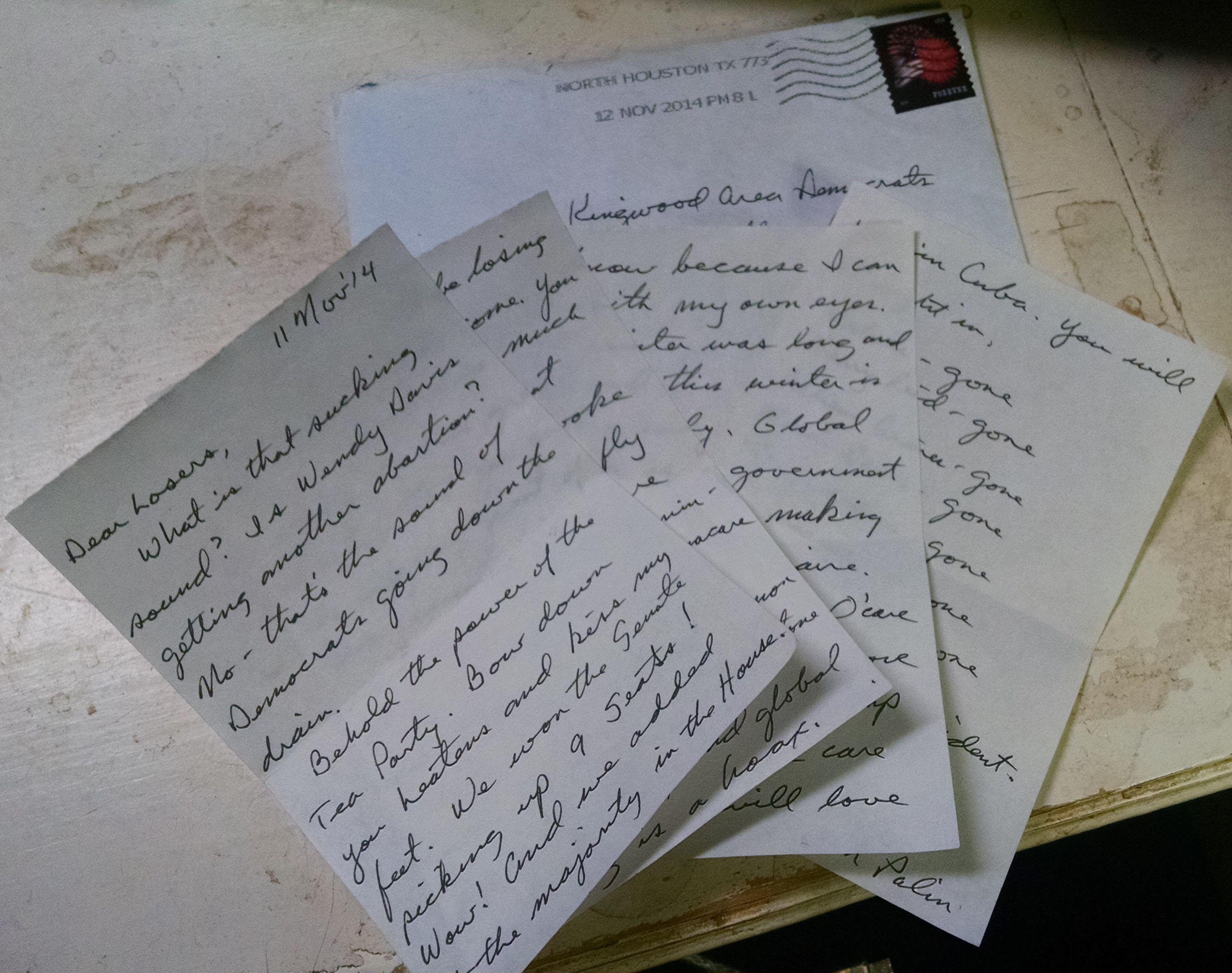 hate mail from Sarah Palin KAD Kingwood Area Democrats