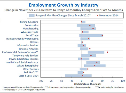 Employment Growth by Industry, President Obama, November Employment Report