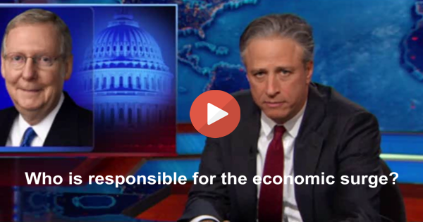 Jon Stewart slams Senator McConnell giving GOP credit for economic surge