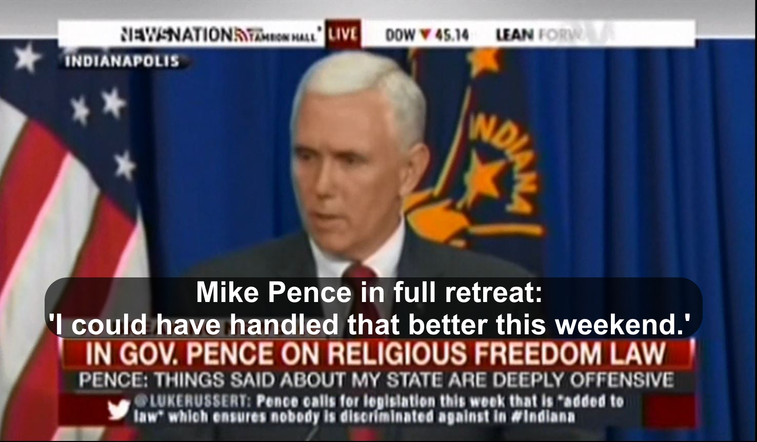 Mike Pence in retreat of Indiana religious restoration act law'