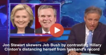 Jon Stewart has fun with Hillary Clinton & Jeb Bush relation to husband's & brother's records