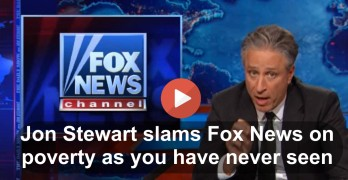 Jon Stewarts takes down Fox News on denial they stereotype the poor