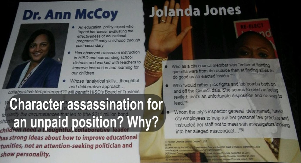 Jolanda Jones, Ann McCoy, Character Assassination, HISD District 4