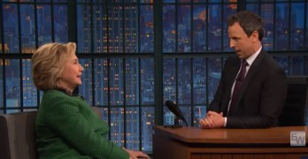 Hillary Clinton tells Seth Meyers that Donald Trump no longer funny but dangerous (VIDEO)