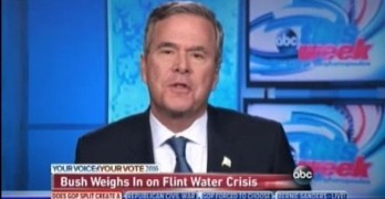 Jeb Bush praises Michigan governor for 'taken responsibility' amid water crisis.