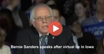 Bernie Sanders speak after virtual tie in Iowa